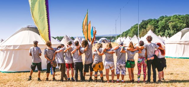 The Portobello Tents team in the gorgeous sunshine surrounded by their lovely canvas bell tents. Our team will look after you for your whole stay with us!